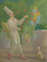 Punchinello Juggles for Lolly Pop, 48 X 36, o/c,  2007