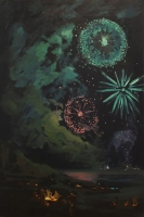 Green Rosette, 36 x 24, o/l/p, 2014