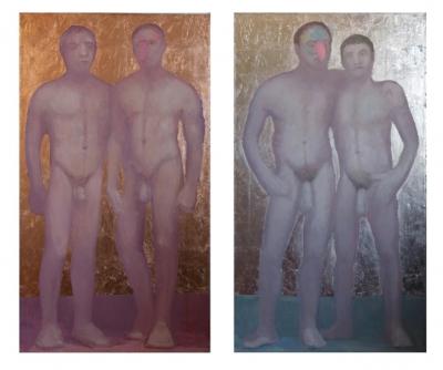 Couples (Jocks (copper) & Buddies ( silver ) each 26X48, o/l/leaf, 2015