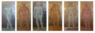Men (Dancer , Footballer, Wrestler, Insurance Man, Tennis Coach , Kouros), 20/22X46, o/l/leaf, 2014-16