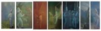 3-Ploughman, Zookeeper, Circus Man, Swings & Roundabout, Singer & Organist, Rabbitman, Rocketman, 228X60, o/l, 2015