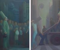 Richman, 36 x 60; Poorman, 36 x 60; o/l, 2013-15