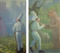 Ploughman, 30 x 60; Zookeeper, 36 x 60; o/l, 2013-15