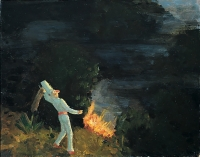 Punchinello Fights a Fire,  11 x 14, o/c, 1995