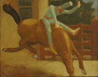 Punchinello On the Bucking Bronco, 11 x 14, o/c, 1995