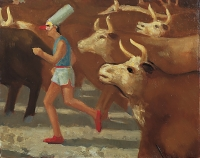 Punchinello Runs With the Cattle, 11 x 14, o/c, 1995